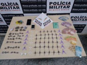 Congonhas: 201 pinos de cocaína e 42 buchas de maconha são apreendidos no Tijucal