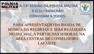 Banda da Polícia Militar se apresenta em Lafaiete