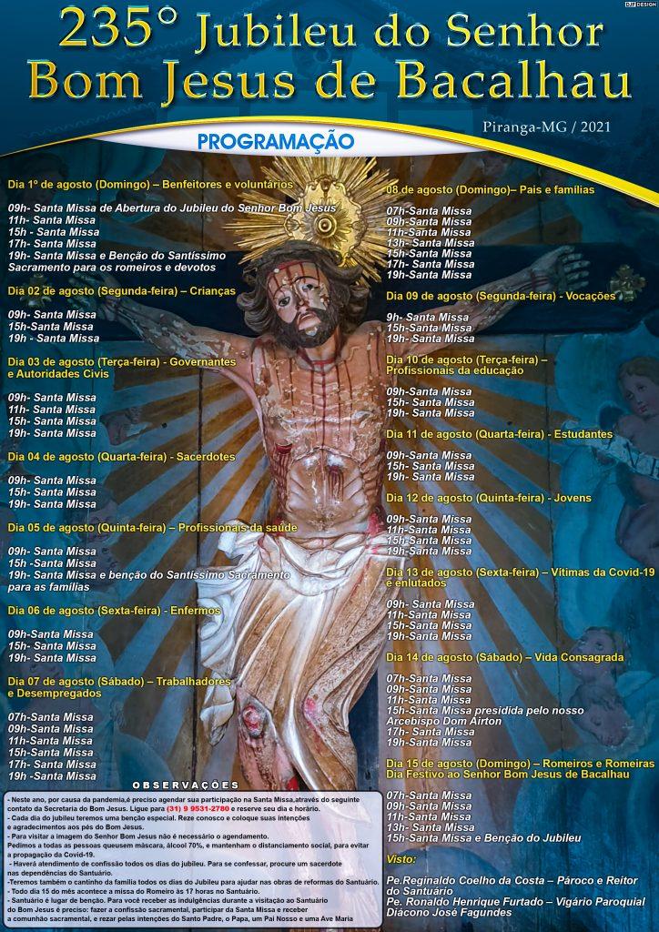 Santuário do Senhor Bom Jesus de Bacalhau, em Piranga celebra o 235º Jubileu do Bom Jesus