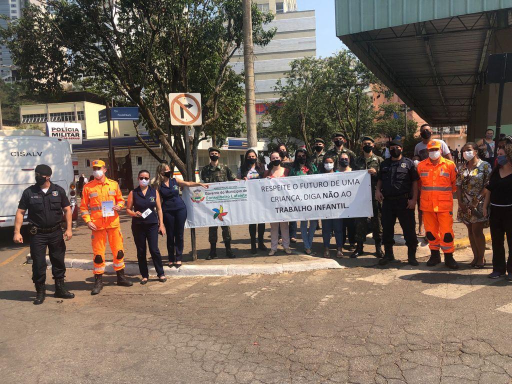 31º Batalhão apoia mobilização da Prefeitura Municipal de Conselheiro Lafaiete pela erradicação do trabalho infantil